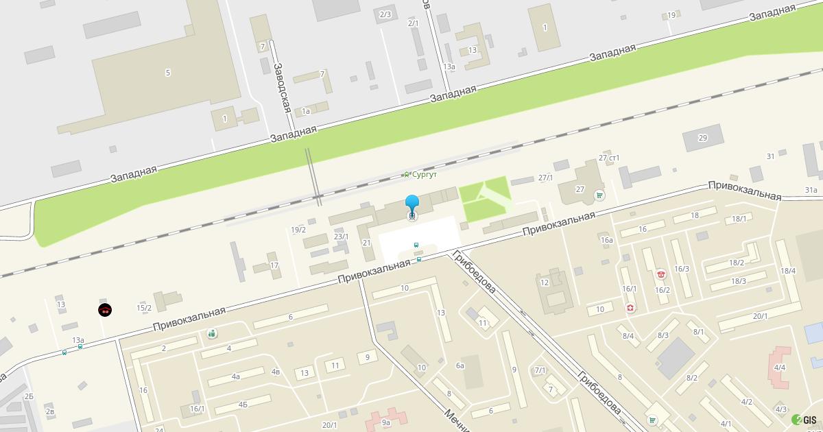 Расположение вокзала Сургут на карте