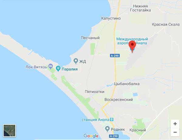 Расположение аэродрома Витязево. Гугл карта.