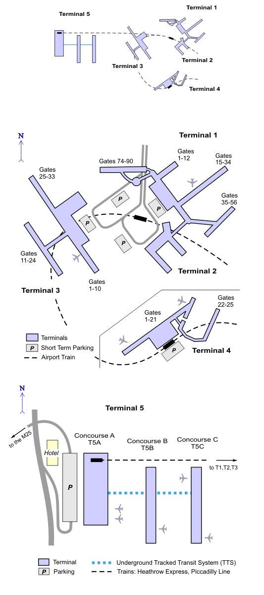 Общая схема аэропорта Хитроу