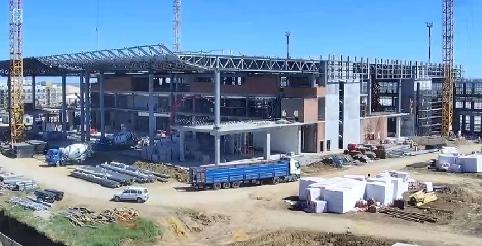 Наблюдение заходом строительства аэропорта Гагарин через веб-камеру.