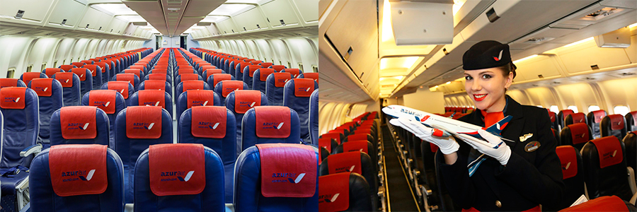 Салон Boeing-767 авиакомпании Azur Air истюардессы
