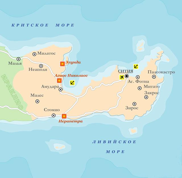 карта пляжей крита с фото вас