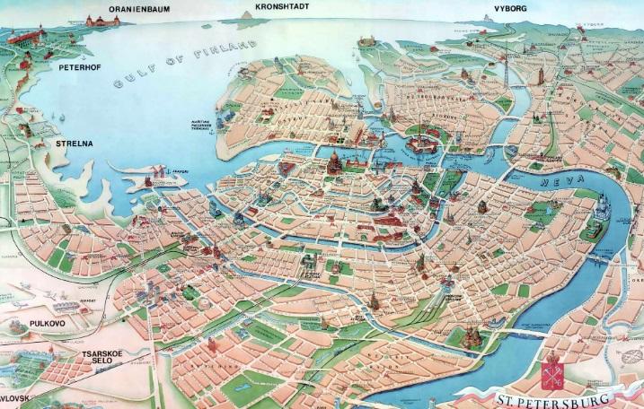 Карта метро санкт петербурга с достопримечательностями